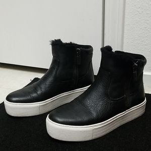 KENNETH COLE leather high top platform sneakers